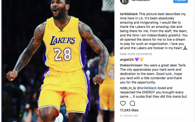 Tarik Black thanks the Lakers for the opportunity to play for them in heartfelt Instagram post after being waived